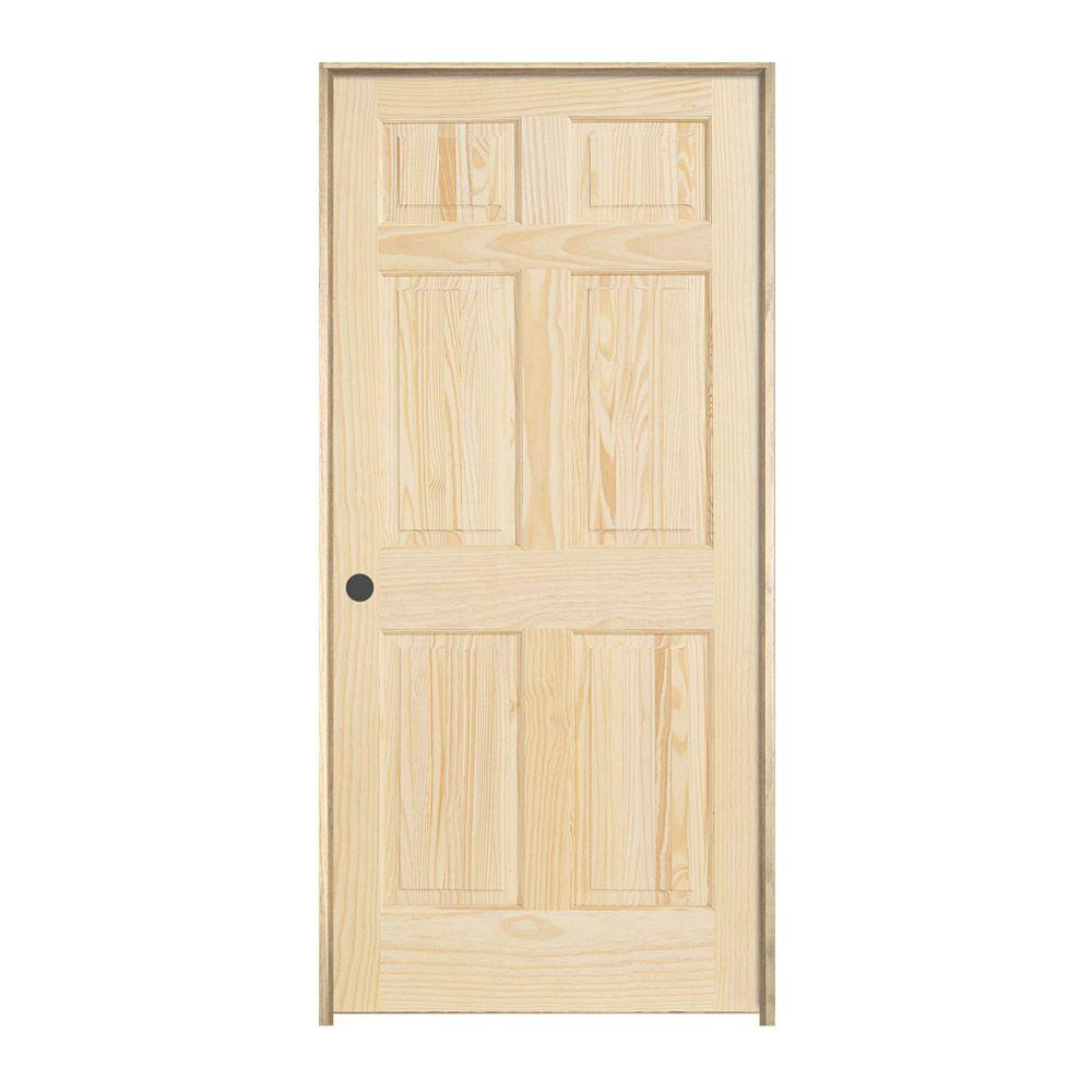 JELD WEN 24 In. X 80 In. Pine Unfinished Right Hand 6
