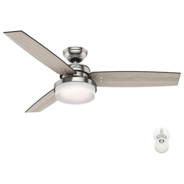 Hunter Sentinel 52 In Led Indoor Brushed Nickel Ceiling Fan With Light Kit And Universal Remote 59157 The Home Depot