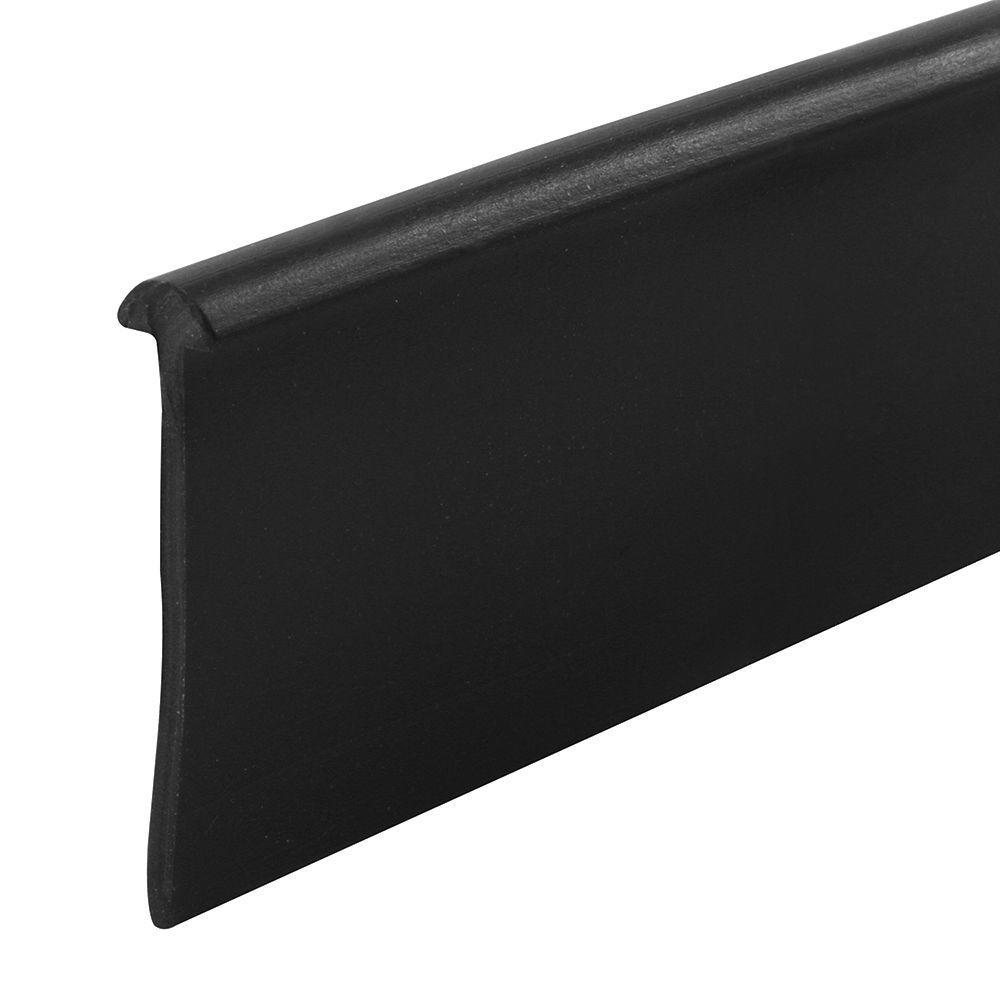 Shower Door Bottom Sweep, 36 in. x 13/16 in. Strip, Vinyl Construction, Black, 5/32 in. Half Round Tee Insert Shape