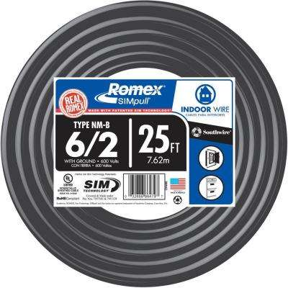 25 ft. 6/2 Stranded Romex SIMpull CU NM-B W/G Wire