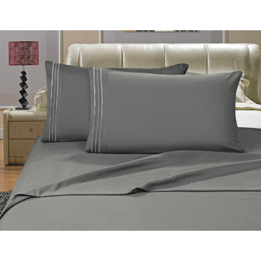 1500 Series 4-Piece Gray Triple Marrow Embroidered Pillowcases Microfiber Queen
