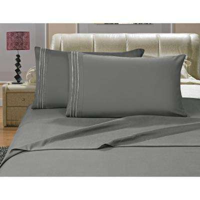 1500 Series 4-Piece Gray Triple Marrow Embroidered Pillowcases Microfiber Queen Size Bed Sheet Set