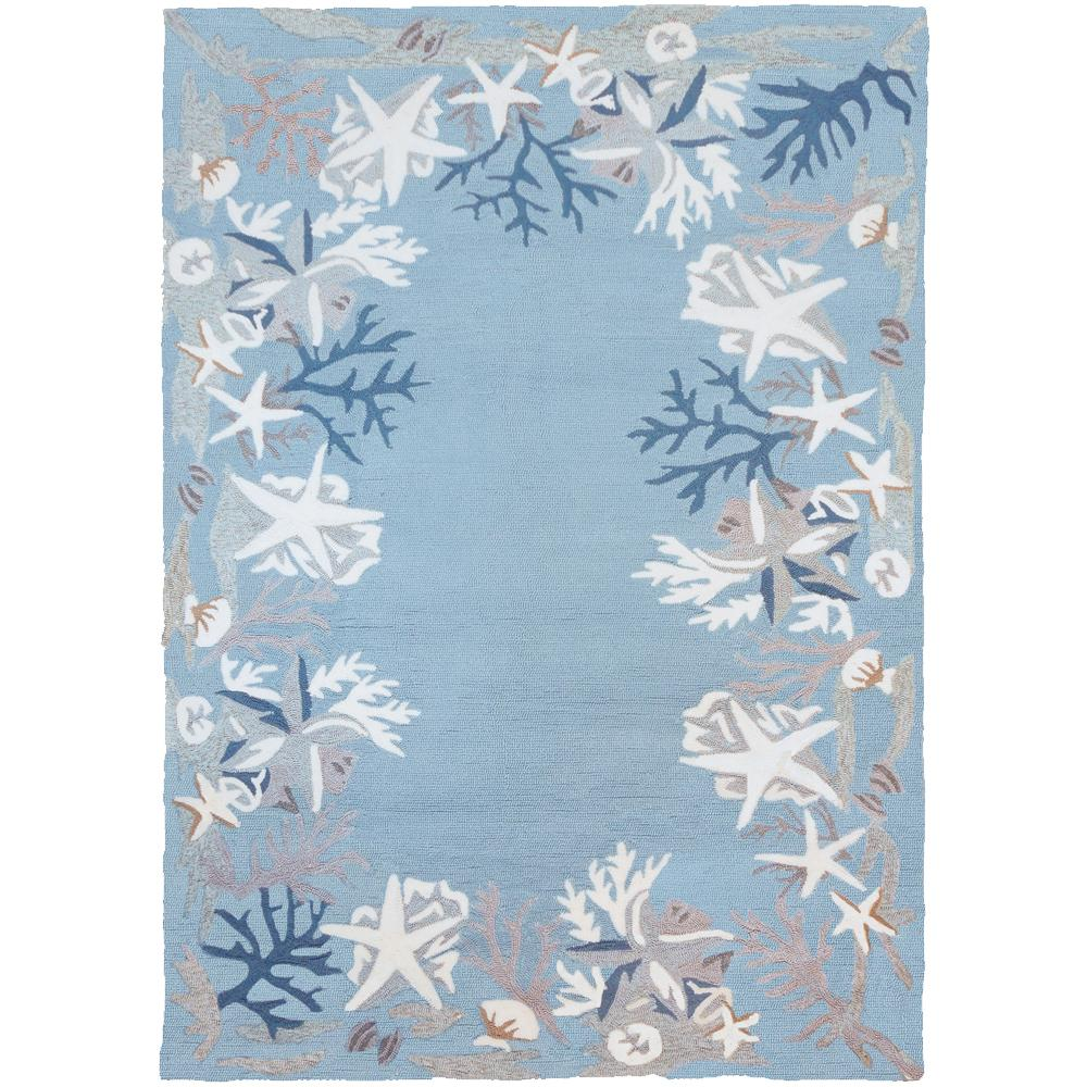 Homefires White Coral Reef Blue 3 Ft X 5 Ft Indoor Outdoor Area Rug
