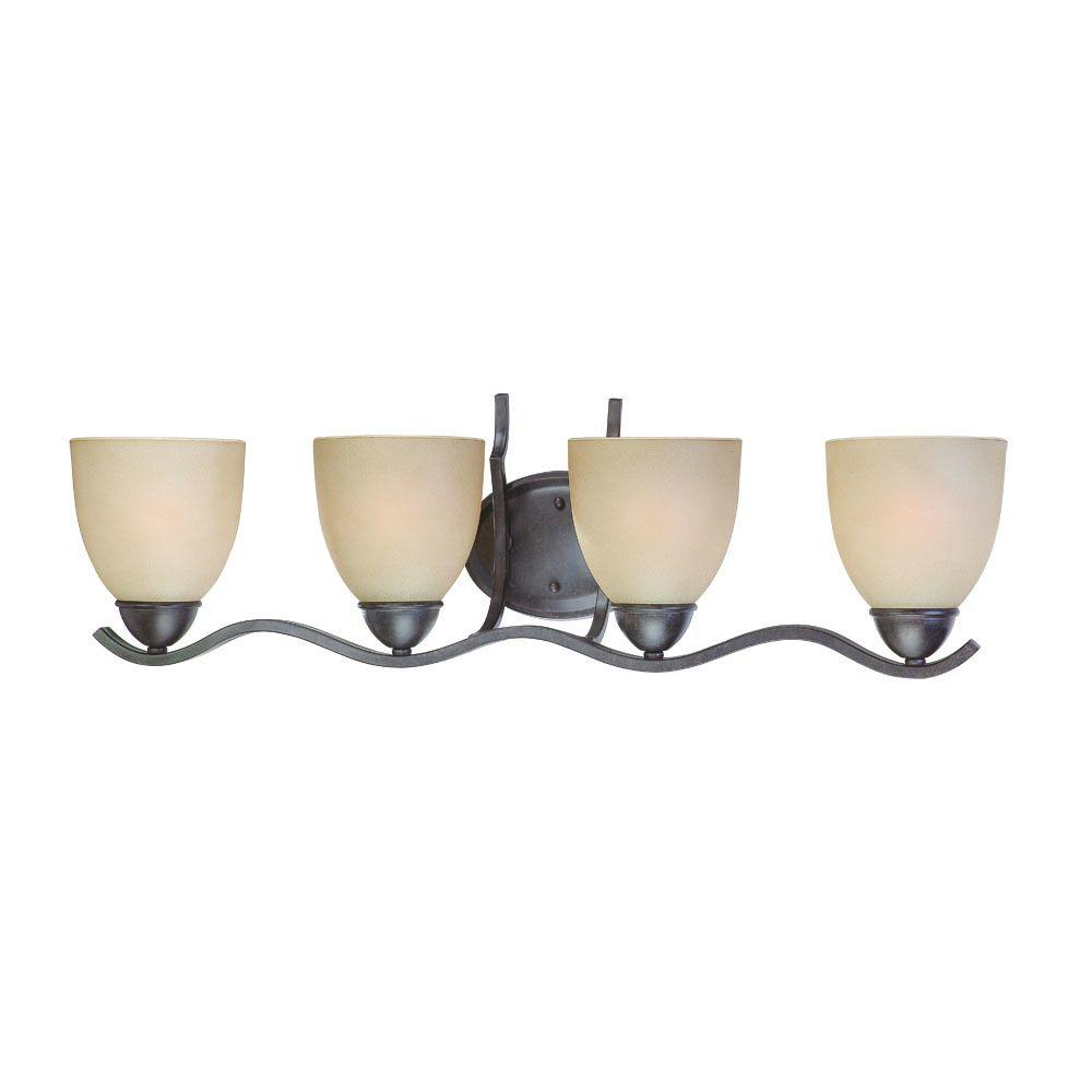 Thomas Lighting Triton 4-Light Sable Bronze Bath Fixture with Tea Stained Glass Shade