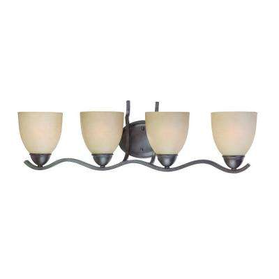 Triton 4-Light Sable Bronze Bath Fixture with Tea Stained Glass Shade