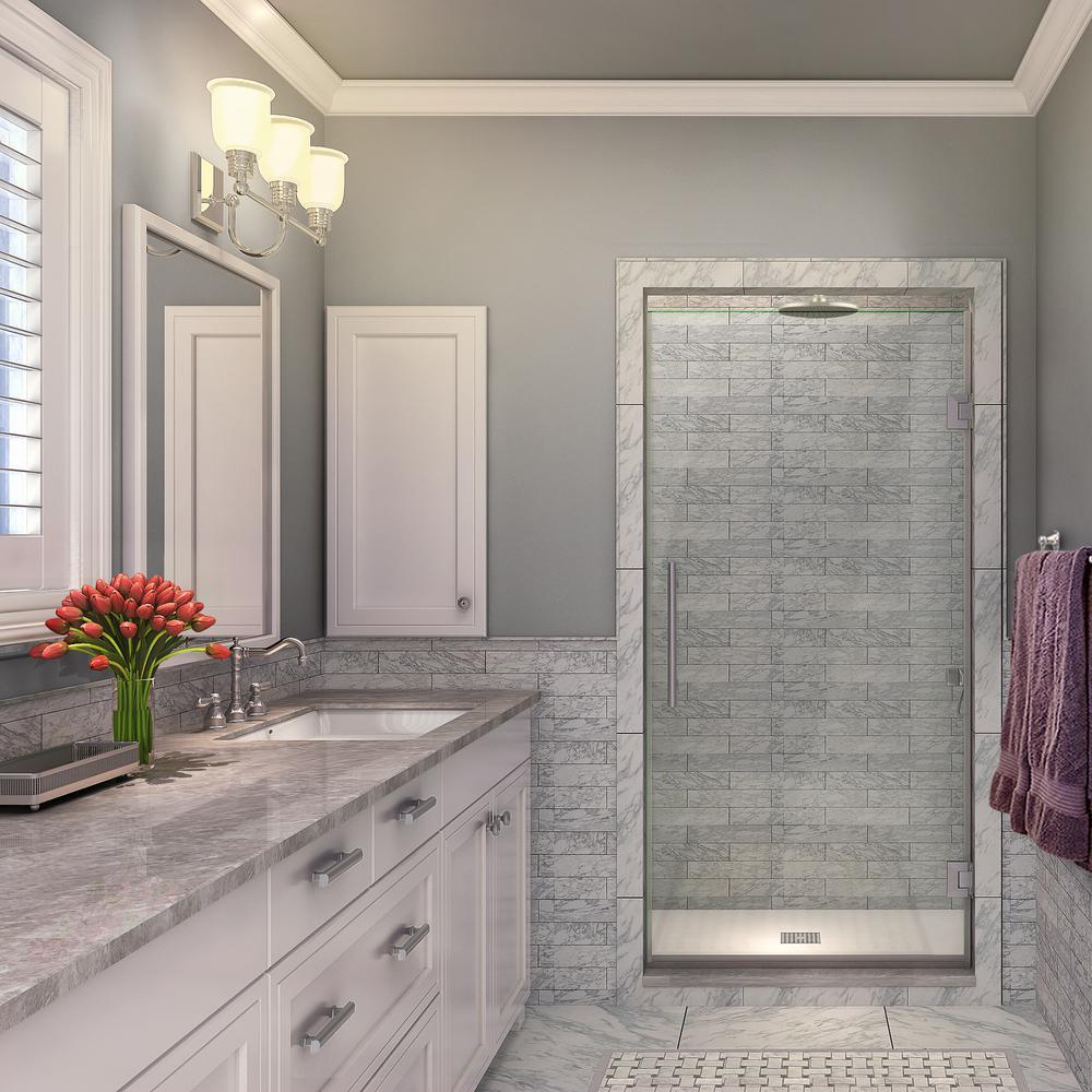 Kinkade 34.75 in. to 35.25 in. x 72 in. Frameless Hinged Shower Door in Stainless Steel
