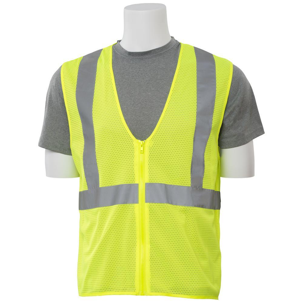 S363 5X Class 2 Economy Poly Mesh Zippered Hi Viz Lime Vest
