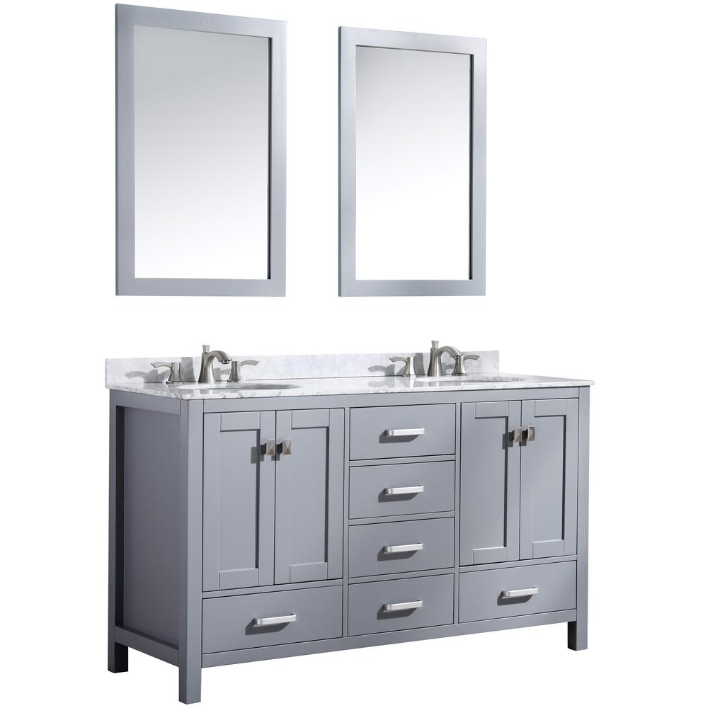ANZZI Chateau 60 in. W x 36 in. H Bath Vanity in Gray with Marble Vanity Top in Carrara White with White Basins and Mirrors