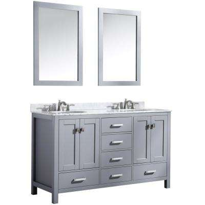 Chateau 60 in. W x 36 in. H Bath Vanity in Gray with Marble Vanity Top in Carrara White with White Basins and Mirrors