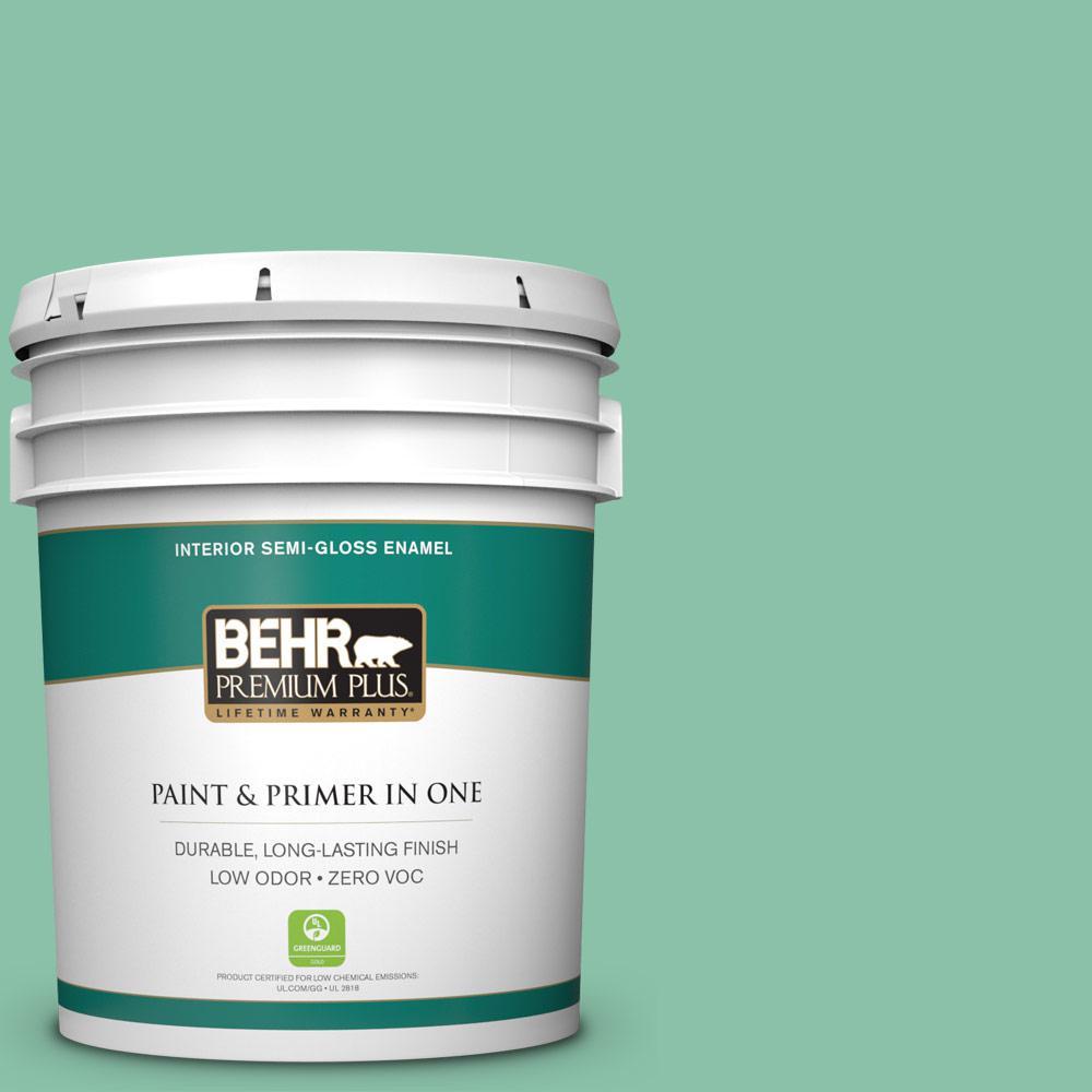 BEHR Premium Plus Home Decorators Collection 5-gal. #HDC-WR14-8 Spearmint Frosting Semi-Gloss Enamel Interior Paint