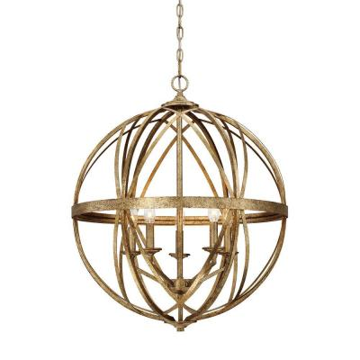 Gold Cage Chandeliers Lighting The Home Depot