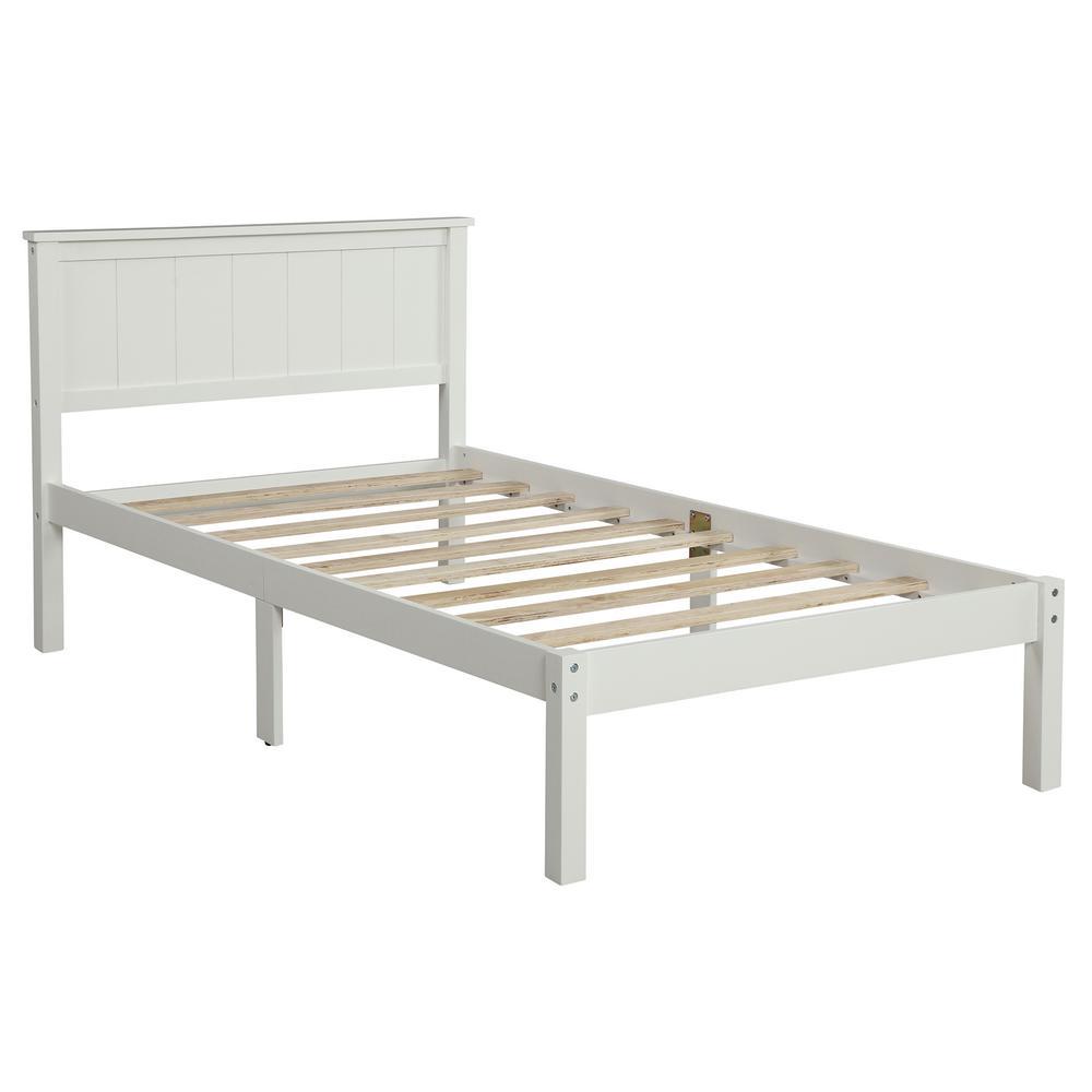 Chrome White Twin Wood Slat Platform Bed with Headboard