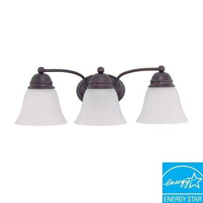 3-Light Mahogany Bronze Fluorescent Wall Vanity Light