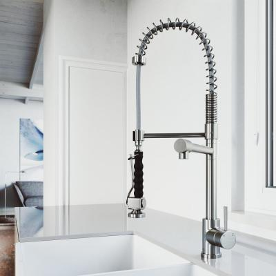 Zurich Single-Handle Pull-Down Sprayer Kitchen Faucet in Stainless Steel