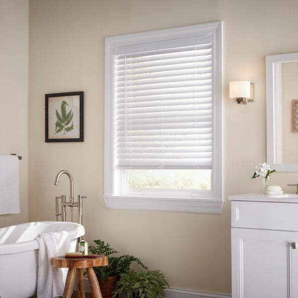 White Cordless 2 in. Faux Wood Blind - 33.5 in. W x 64 in. L (Actual Size 33 in. W x 64 in. L)
