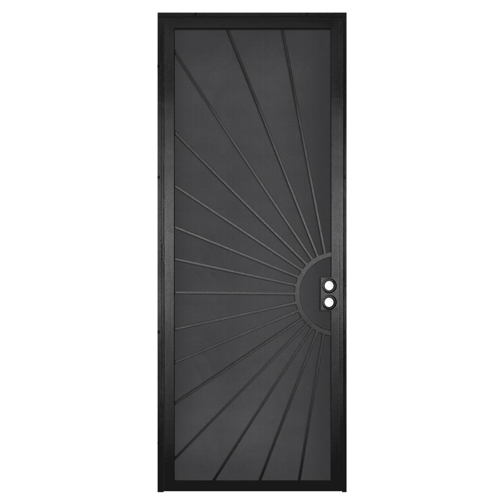 Unique Home Designs 36 in. x 96 in. Solana Black Surface Mount Left-Hand Steel Security Door with Perforated Metal Screen
