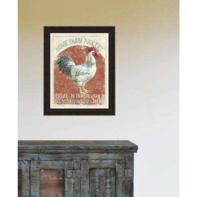 """18.5 in. x 14.5 in. """"Farm Nostalgia IV"""" Rooster by Danhui Nai Textured Paper Print Framed Wall Art"""