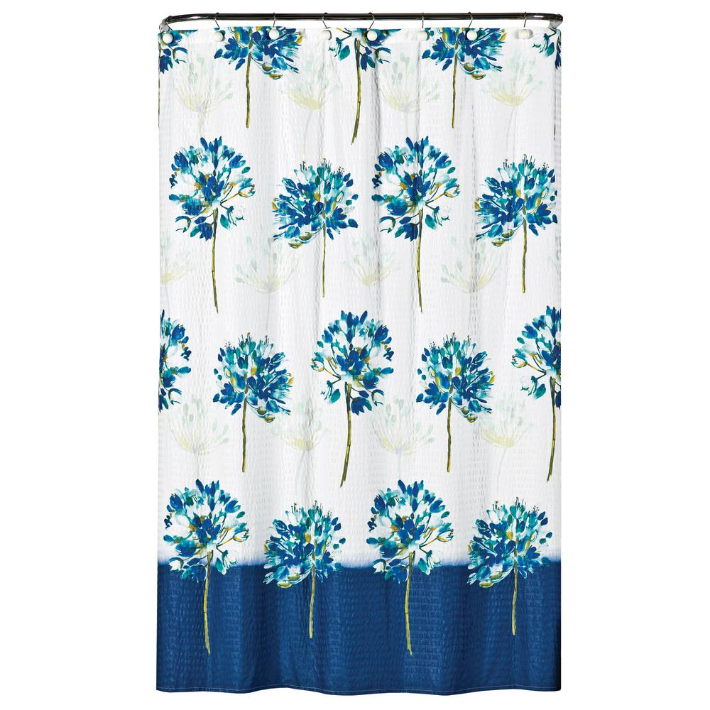Saturday Knight Blue Medley 72 In Floral Shower Curtain