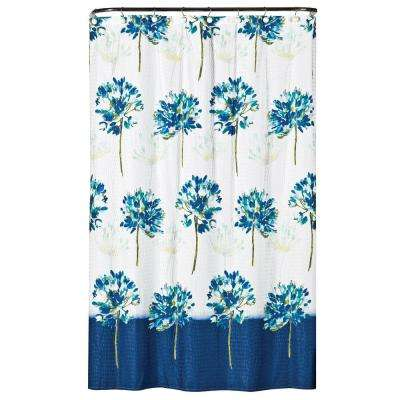 Blue Medley 72 in. Floral Shower Curtain