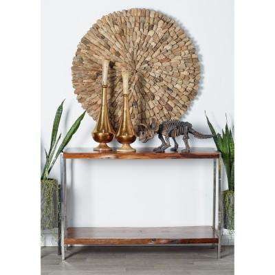 Brown and Silver Console Table with Bottom Shelf