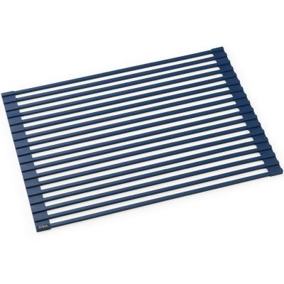 Kore Workstation 16.9 in. Multipurpose Over Sink Roll-Up Dish Drying Rack in Dark Blue