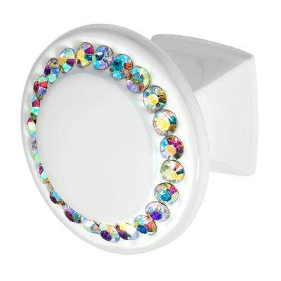 Isabel 1-1/4 in. White with Multi-Color Crystal Cabinet Knob