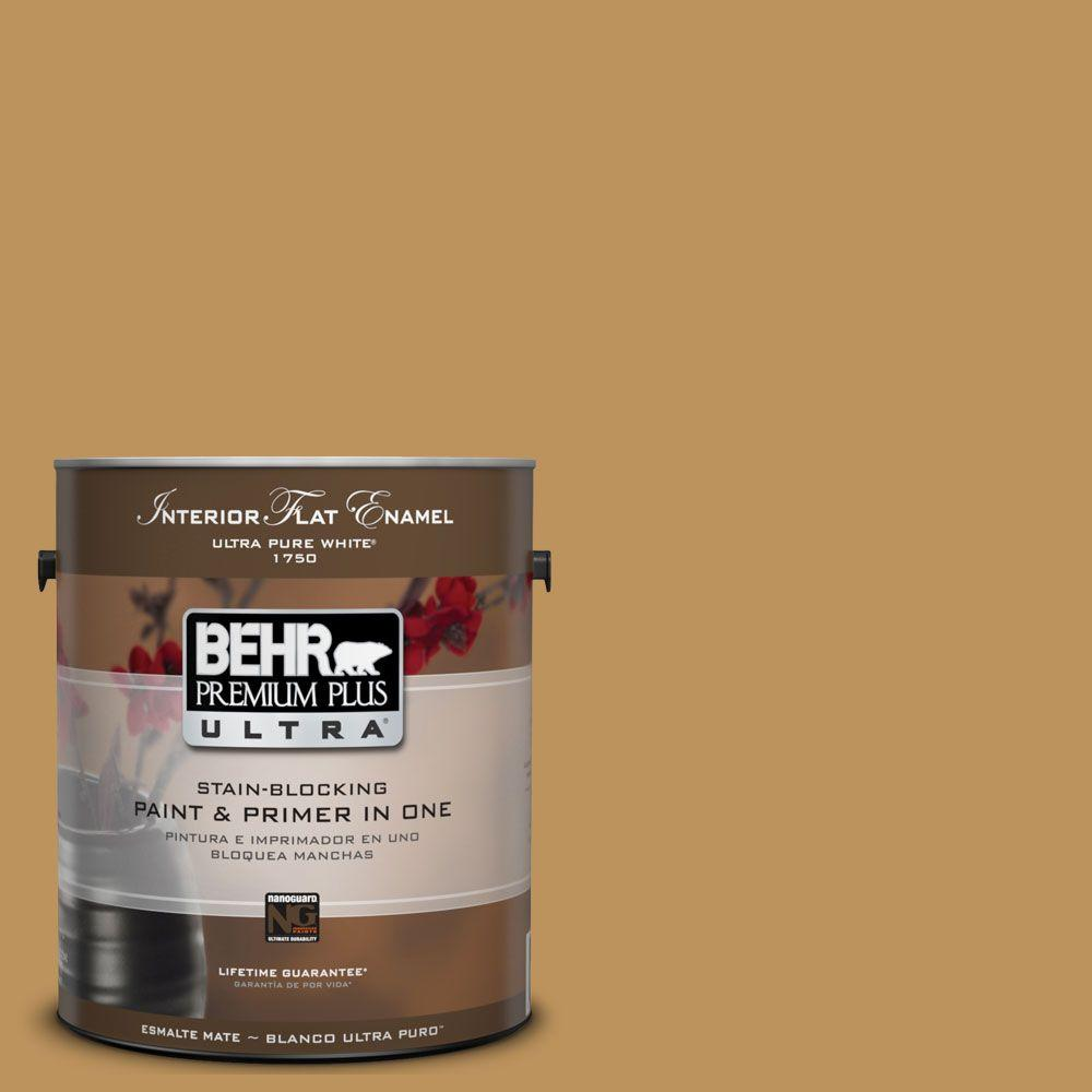 BEHR Premium Plus Ultra 1-Gal. #UL160-3 Gold Torch Interior Flat Enamel Paint