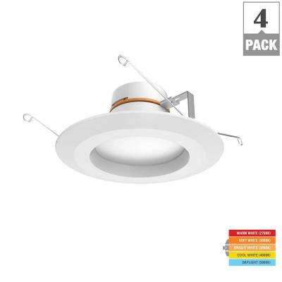 5/6 in. Matte White Integrated LED Recessed Trim 5-Ways (4-Pack)