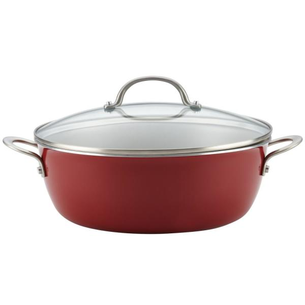 Ayesha Curry Home Collection 7.5 Qt. Porcelain Enamel Nonstick One Pot Meal Stockpot in Sienna Red