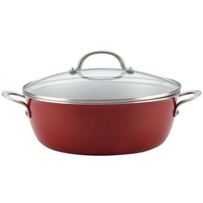 Home Collection 7.5 Qt. Porcelain Enamel Nonstick One Pot Meal Stockpot in Sienna Red