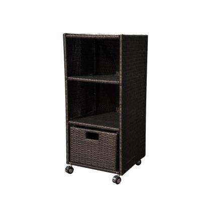 17.72 in. x 44 in. Wicker Wheeled Towel Shelf Organizer for Pools and Spas Patio Furniture
