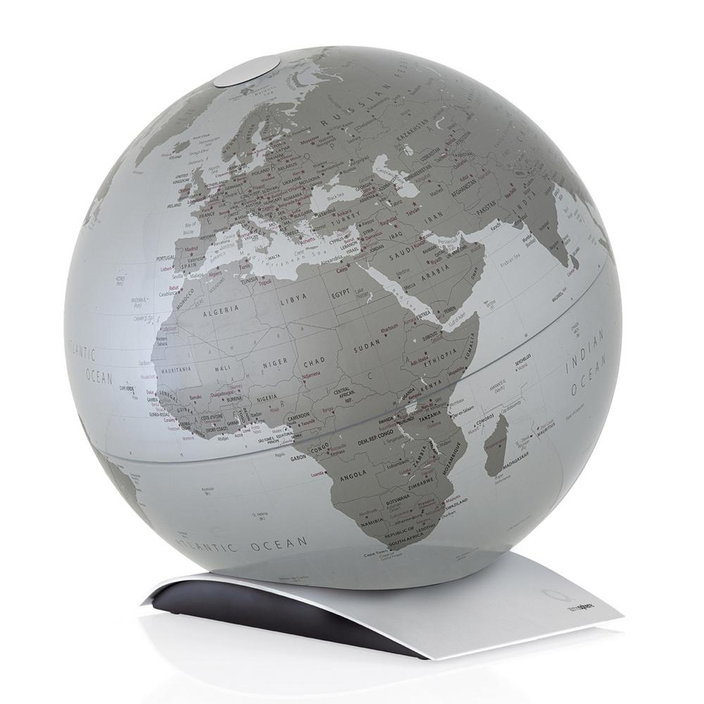 Waypoint Geographic Capital Q 12 in. Decorative Desktop Globe in Silver The Capital Q Globe is a 12 globe with a minimalistic map design, giving way to feature its dark silver color landmass and light silver ocean coloring with aluminum base. The globe sits on its stand so you can pick it up and adjust its position to display how you desire. This globe is an excellent addition to a table or desk in which a modern design is desired.You will find single content coloring with up-to-date countries labeled and delineated by line. This globe makes a great reference tool as well as a decorative accent.Add a touch of color to your room with this decorative globe.