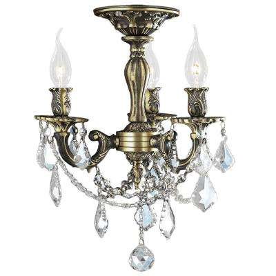 Windsor Collection 3-Light Antique Bronze and French Pendalogue Clear Crystal Semi Flush Mount