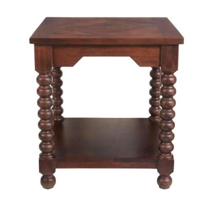 Glenmore Square Walnut Finish Wood End Table with Detailed Legs (22 in. W x 24 in. H)