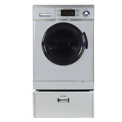 All-in-one 1.6 cu. ft. Compact Combo Washer Dryer with Optional Condensing/Venting, Sensor Dry with Pedestal in Silver