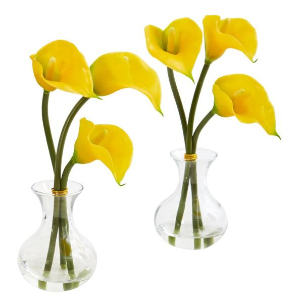 Nearly Natural Calla Lily Artificial Arrangement in Vase (Set of 2)