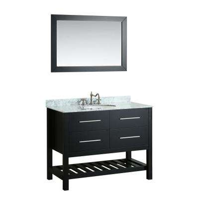 Bosconi 43 in. W Single Bath Vanity in Black with White Carrara Marble Vanity Top in White with White Basin and Mirror