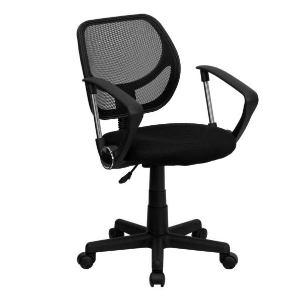 Flash Furniture Black Mesh Swivel Task Chair with Arms WA3074BKARM