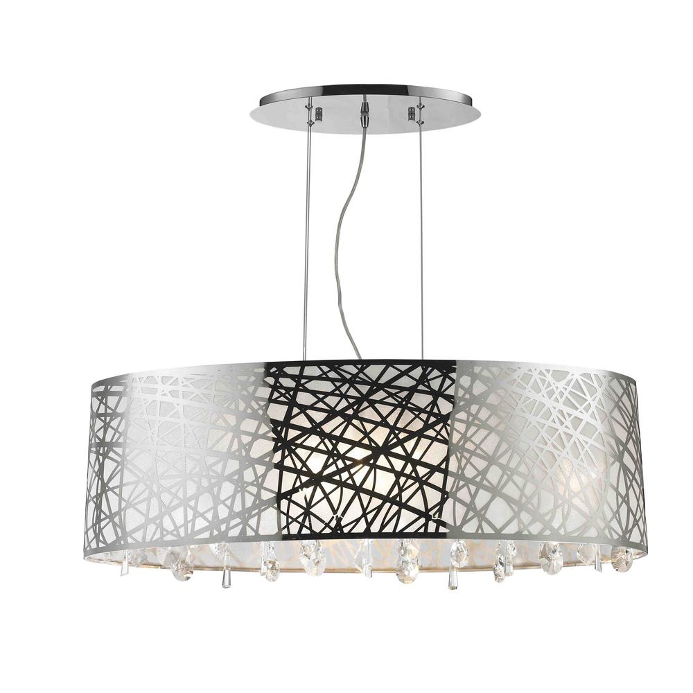 worldwide lighting julie light chrome oval drum chandelier with clearcrystal shade. worldwide lighting julie light chrome oval drum chandelier with