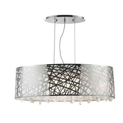 Julie 8-Light Chrome Oval Drum Chandelier with Clear Crystal Shade