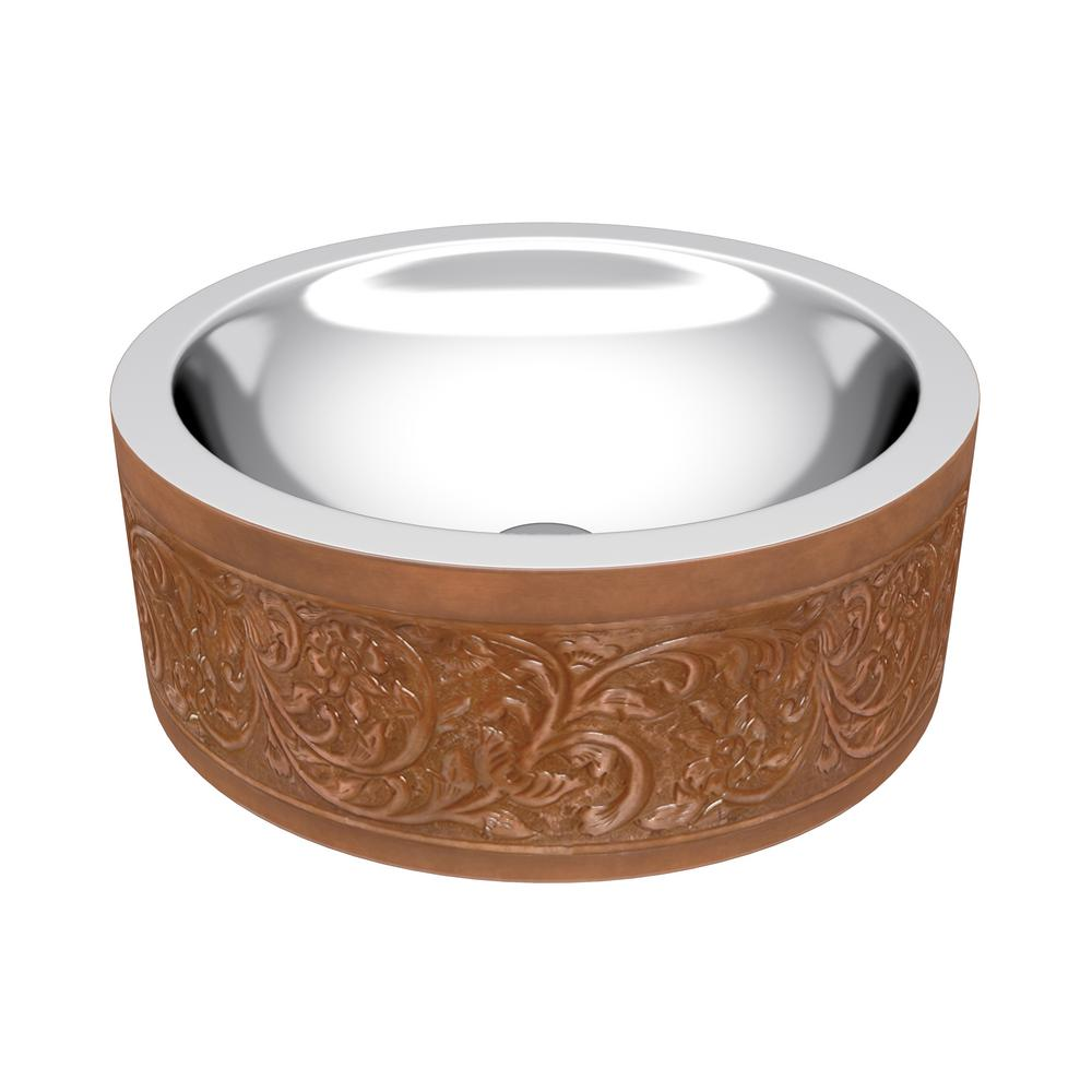 ANZZI Fleet 16 in. Handmade Vessel Sink in Polished Antique Copper with Floral Design Exterior