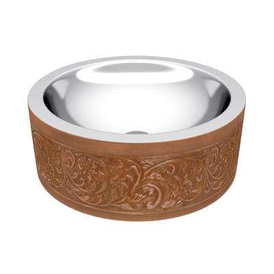 Fleet 16 in. Handmade Vessel Sink in Polished Antique Copper with Floral Design Exterior