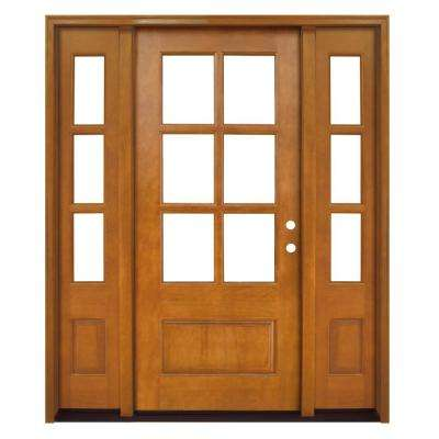 60 in. x 80 in. Craftsman Savannah 6 Lite LHIS Autumn Wheat Mahogany Wood Prehung Front Door with Double 10 in. Sidelite