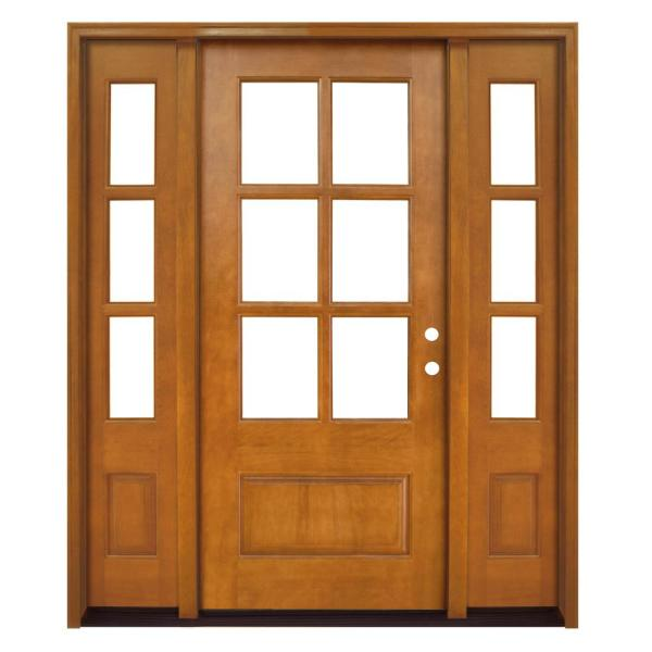68 in. x 80 in. Craftsman Savannah 6 Lite LHIS Autumn Wheat Mahogany Wood Prehung Front Door with Double 14 in. Sidelite