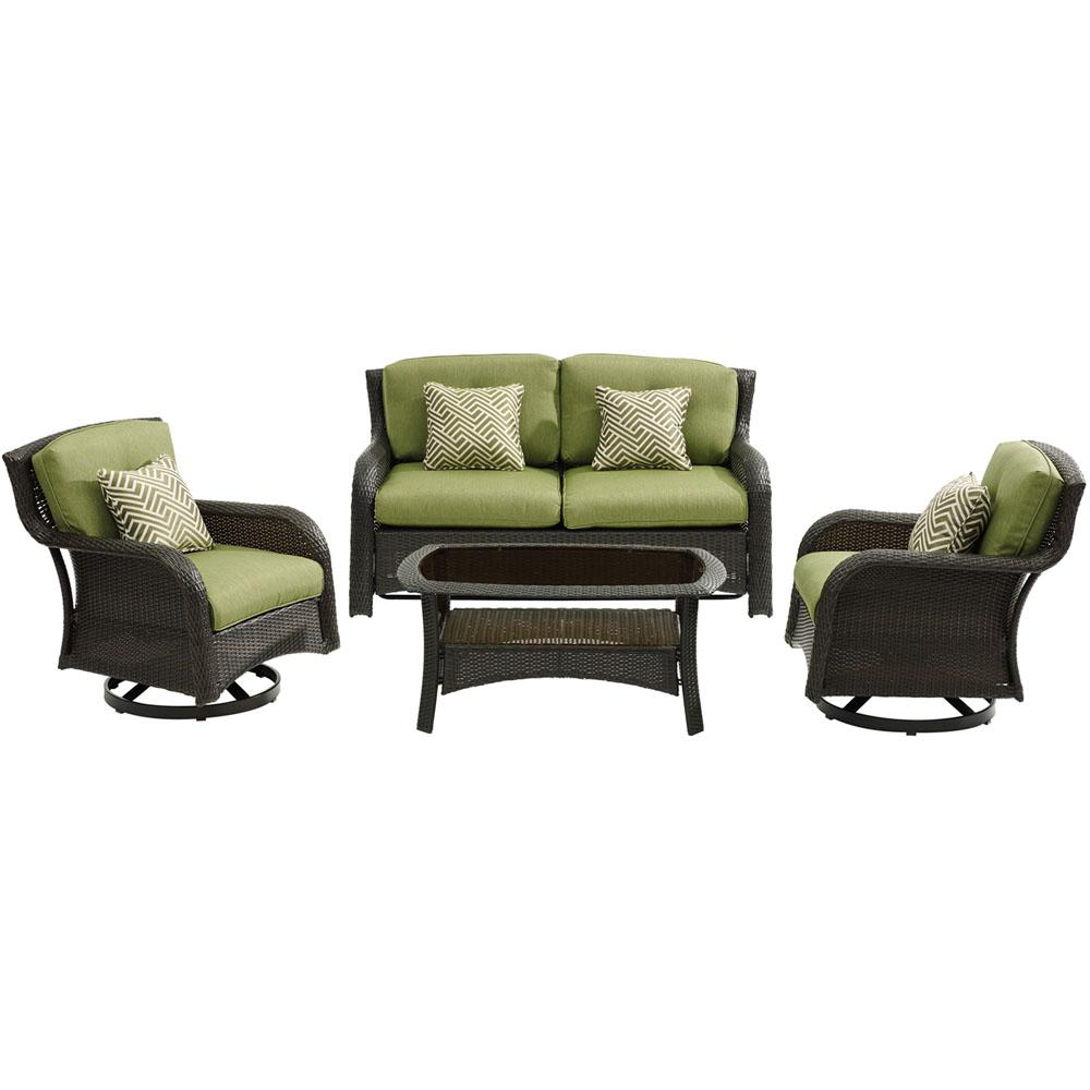 Strathmere 4-Piece Wicker Patio Sectional Seating Set with Cilantro Green
