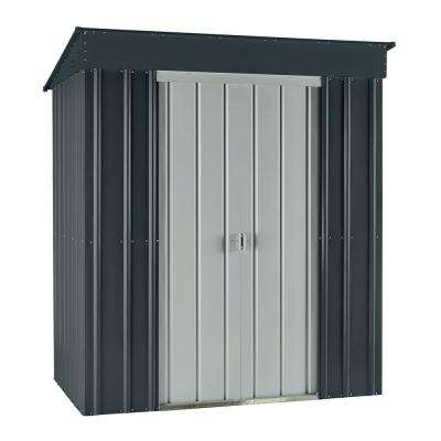Skillion 6 ft. x 4 ft. Slate Gray Metal Shed