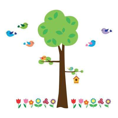 26.4 in. x 37 in. Tree with Flowers Wall Decal
