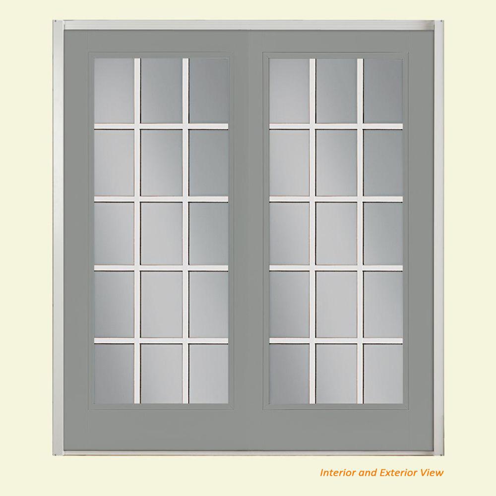 Masonite 72 In X 80 Silver Cloud Fibergl Prehung Right Hand Inswing Gbg 15 Lite Clear Gl Patio Door With Vinyl Frame