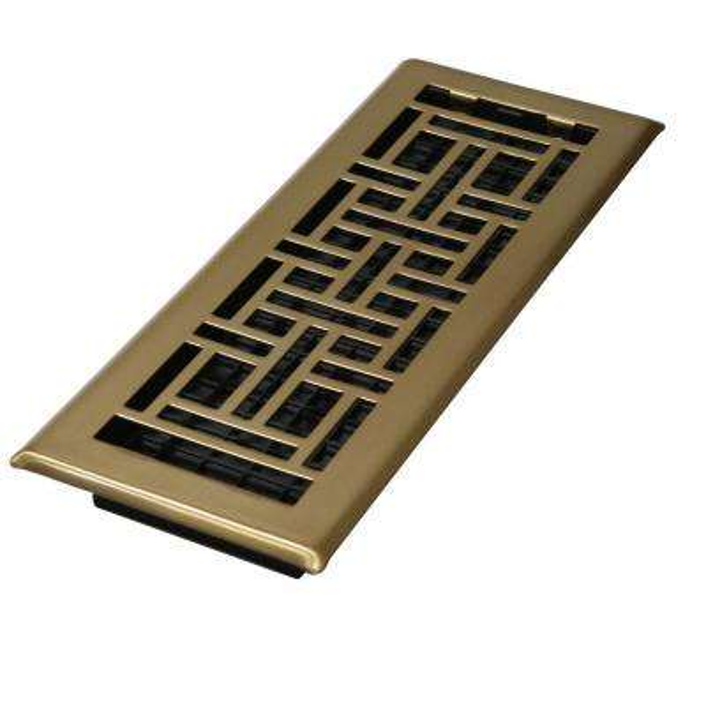 4 in. x 10 in. Steel Antique Brass Oriental Design Floor Register