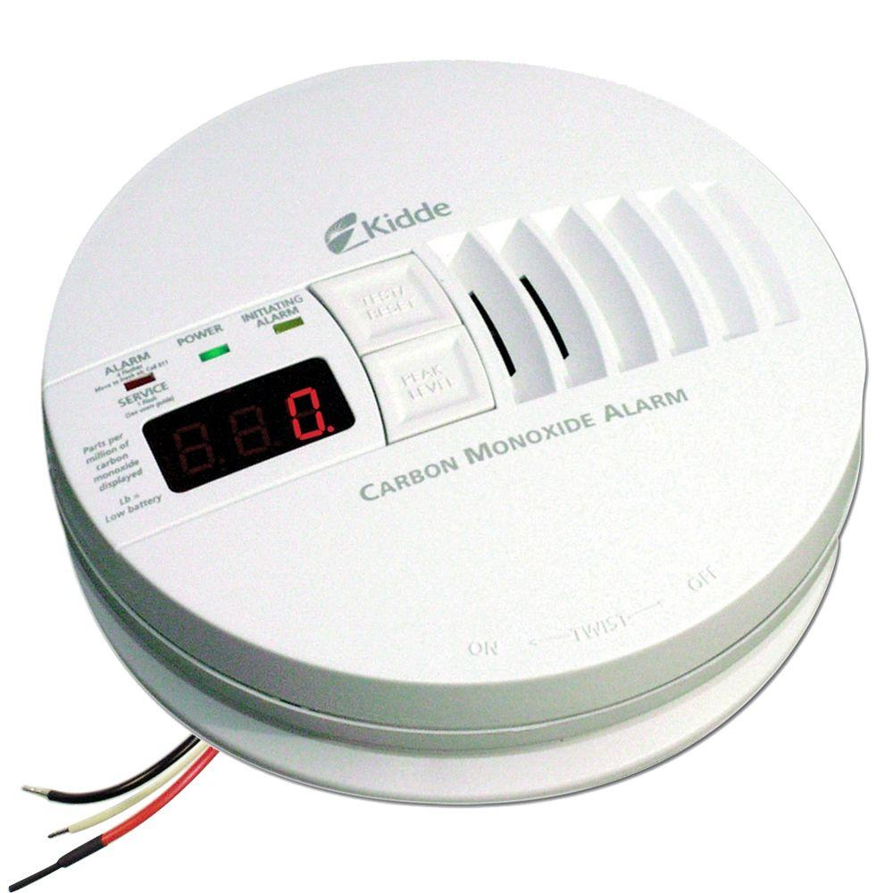 Hardwire Carbon Monoxide Detector with 9V Battery Backup and Digital Display